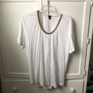J.Crew White Flowy Top with Gold Beaded Neckline